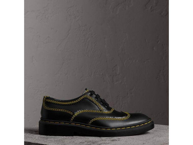 Topstitch Leather Lace-up Shoes in Black - Women | Burberry - cell image 4