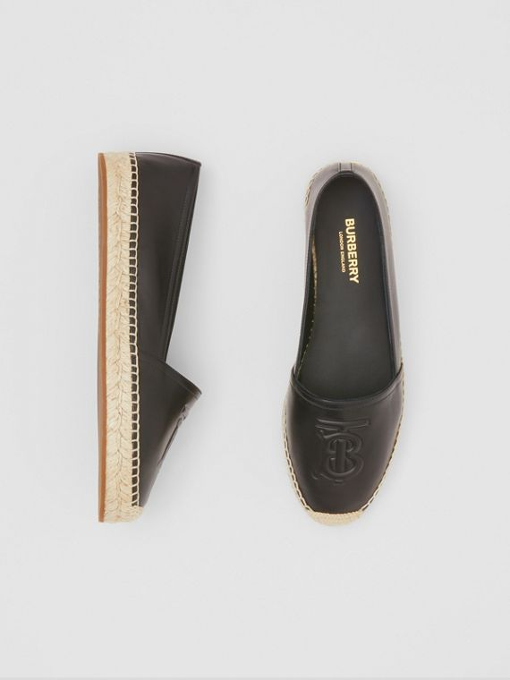 Monogram Motif Leather Espadrilles in Black
