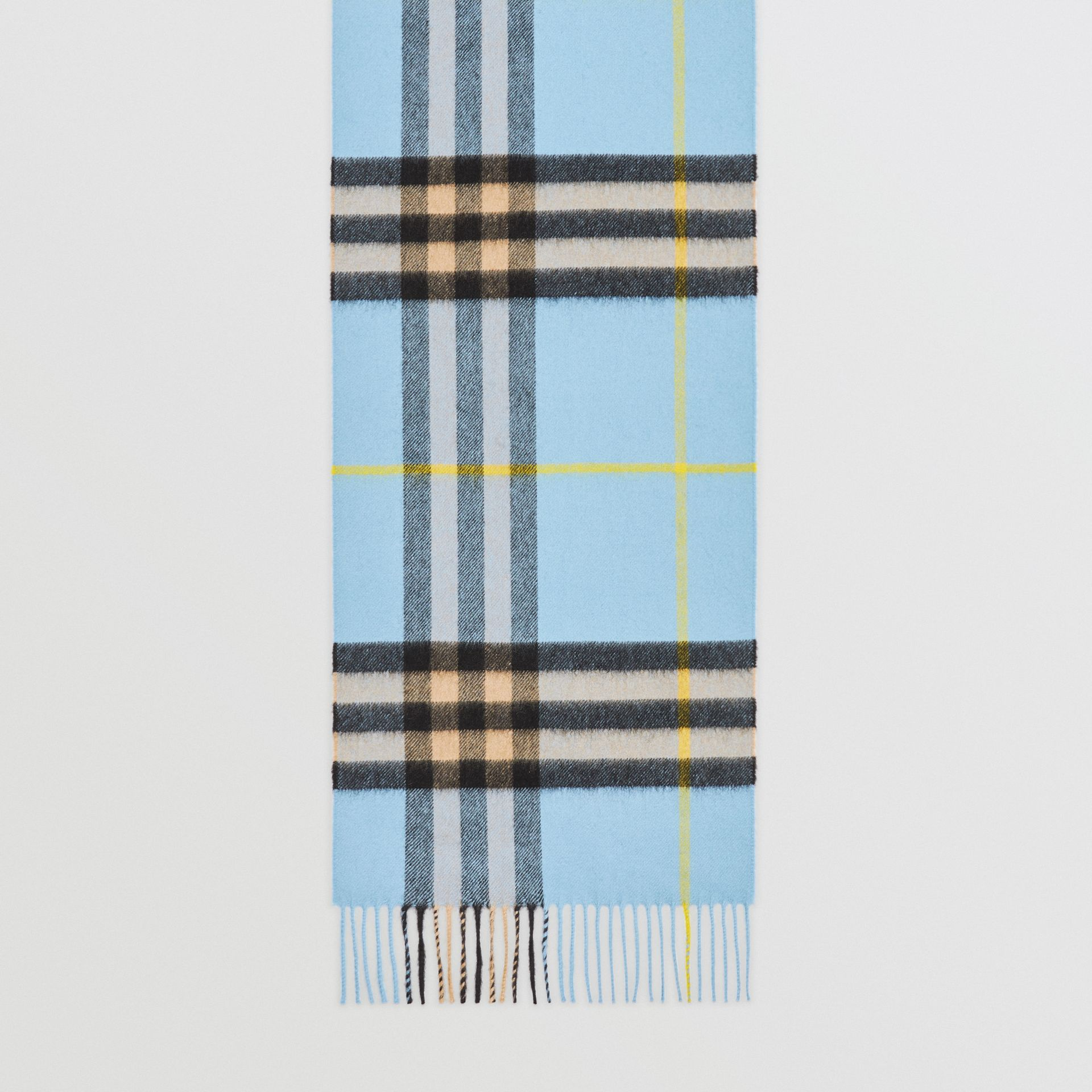 The Classic Check Cashmere Scarf in Pale Blue Carbon | Burberry United Kingdom - gallery image 4