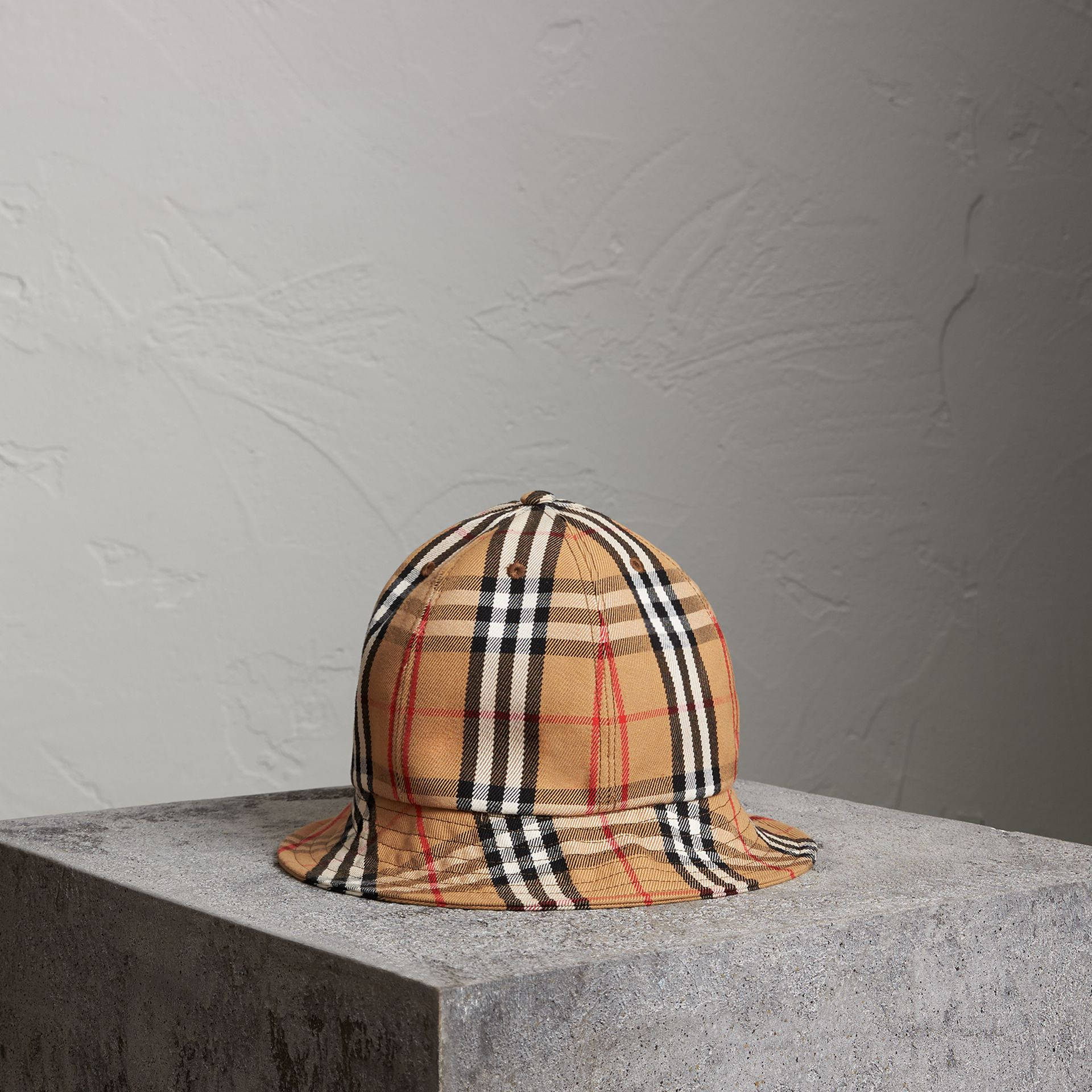 Burberry Vintage Check Bucket Hat In Antique Yellow  896e29a16fa