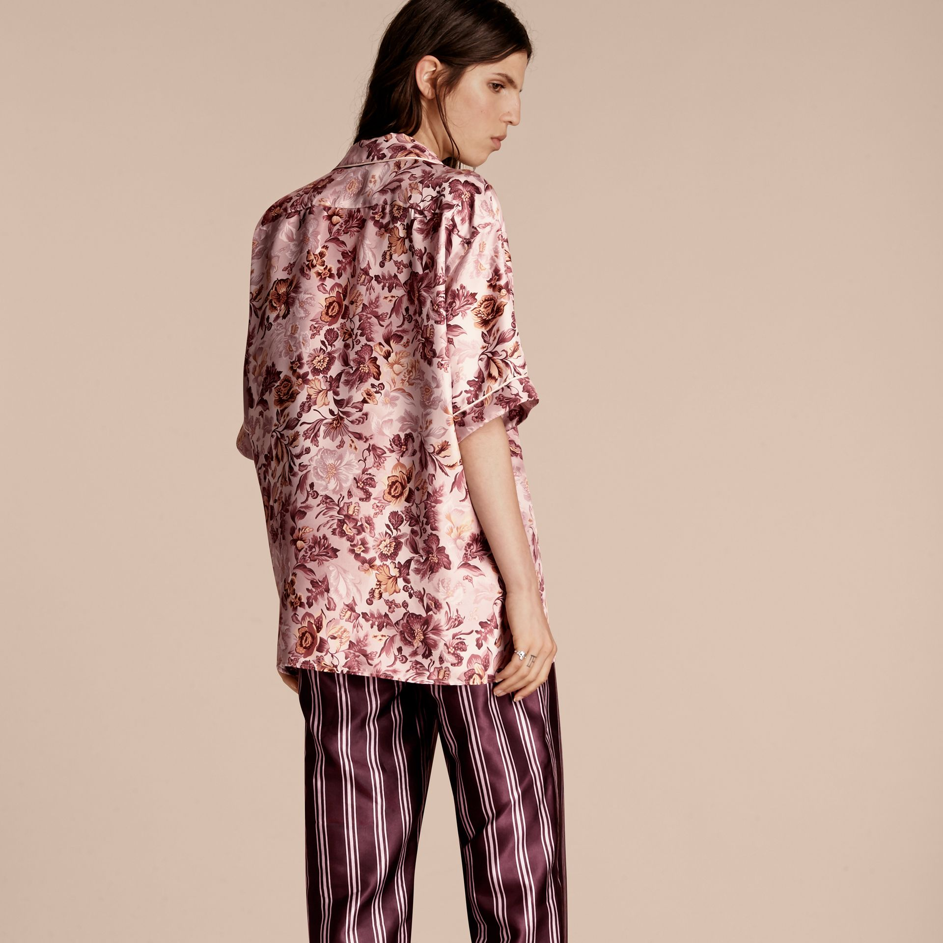 Pink heather Short-sleeved Floral Print Silk Pyjama-style Shirt Pink Heather - gallery image 3