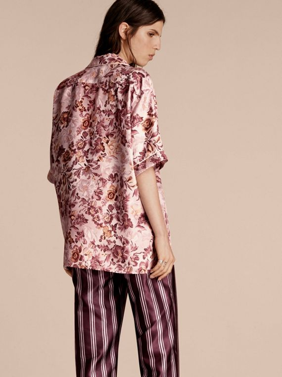 Pink heather Short-sleeved Floral Print Silk Pyjama-style Shirt Pink Heather - cell image 2