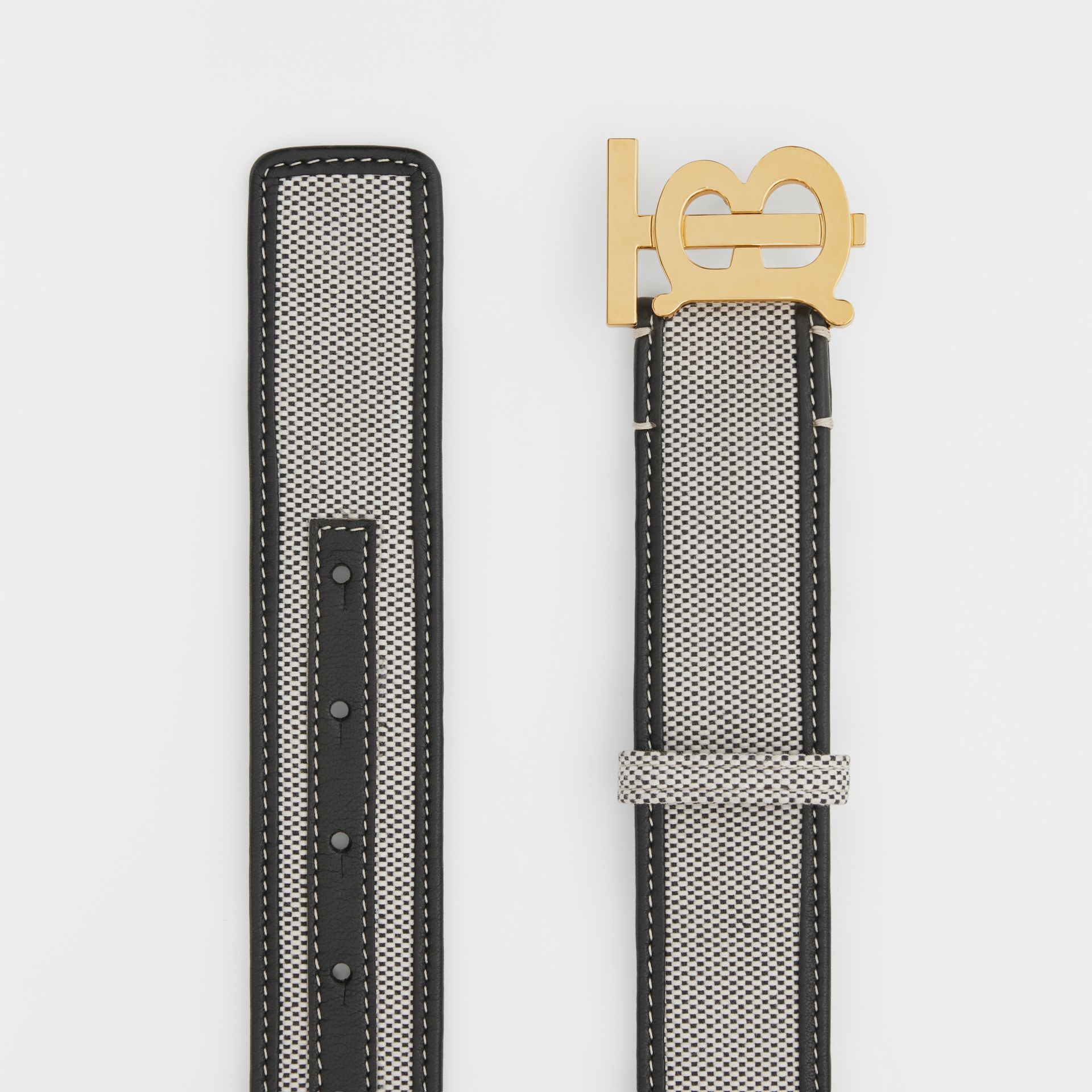 Monogram Motif Canvas and Leather Belt in Black - Women | Burberry United Kingdom - gallery image 5