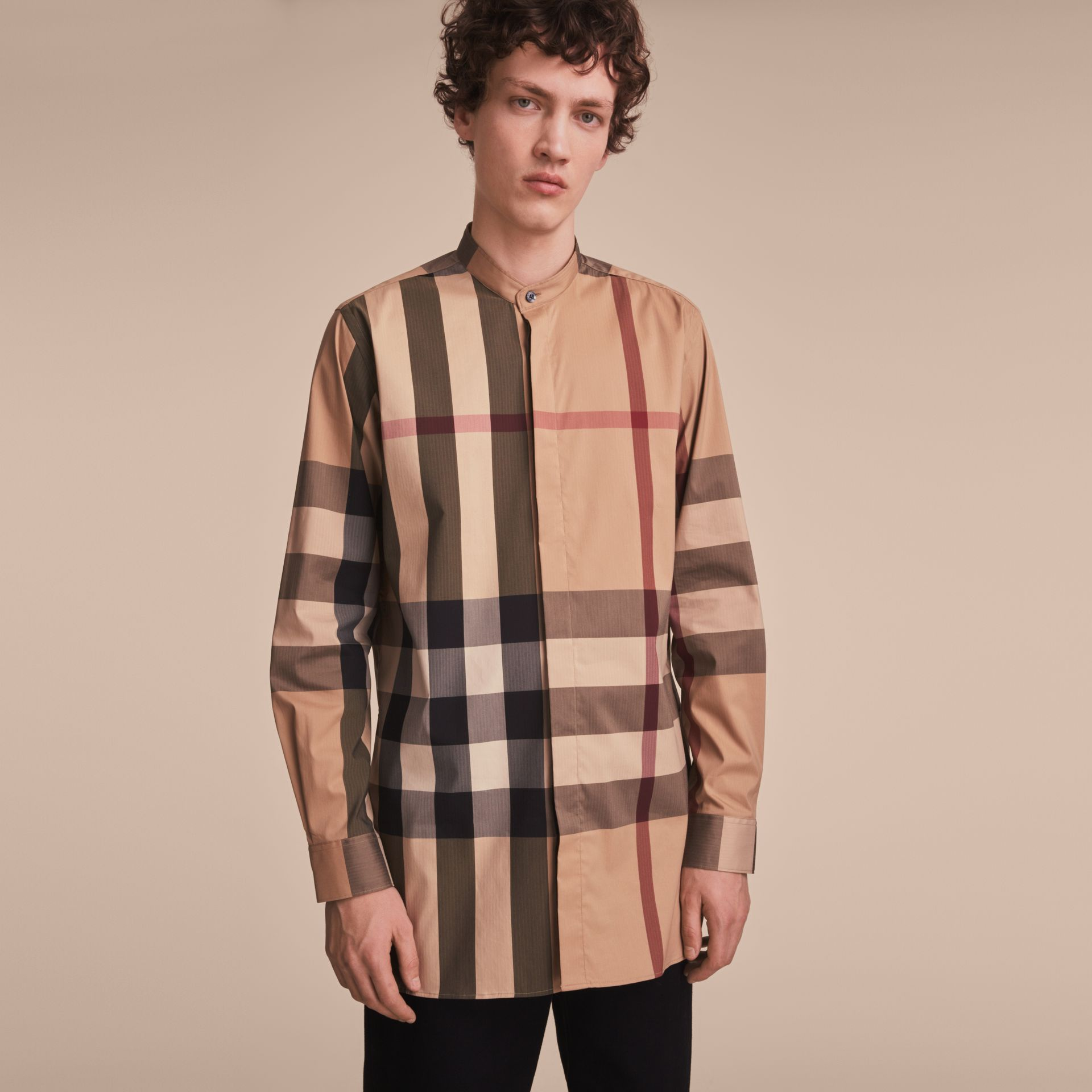 Grandad Collar Check Cotton Blend Shirt in Camel - Men | Burberry - gallery image 6