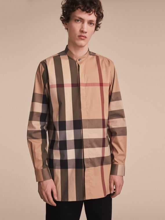 Grandad Collar Check Cotton Blend Shirt - Men | Burberry