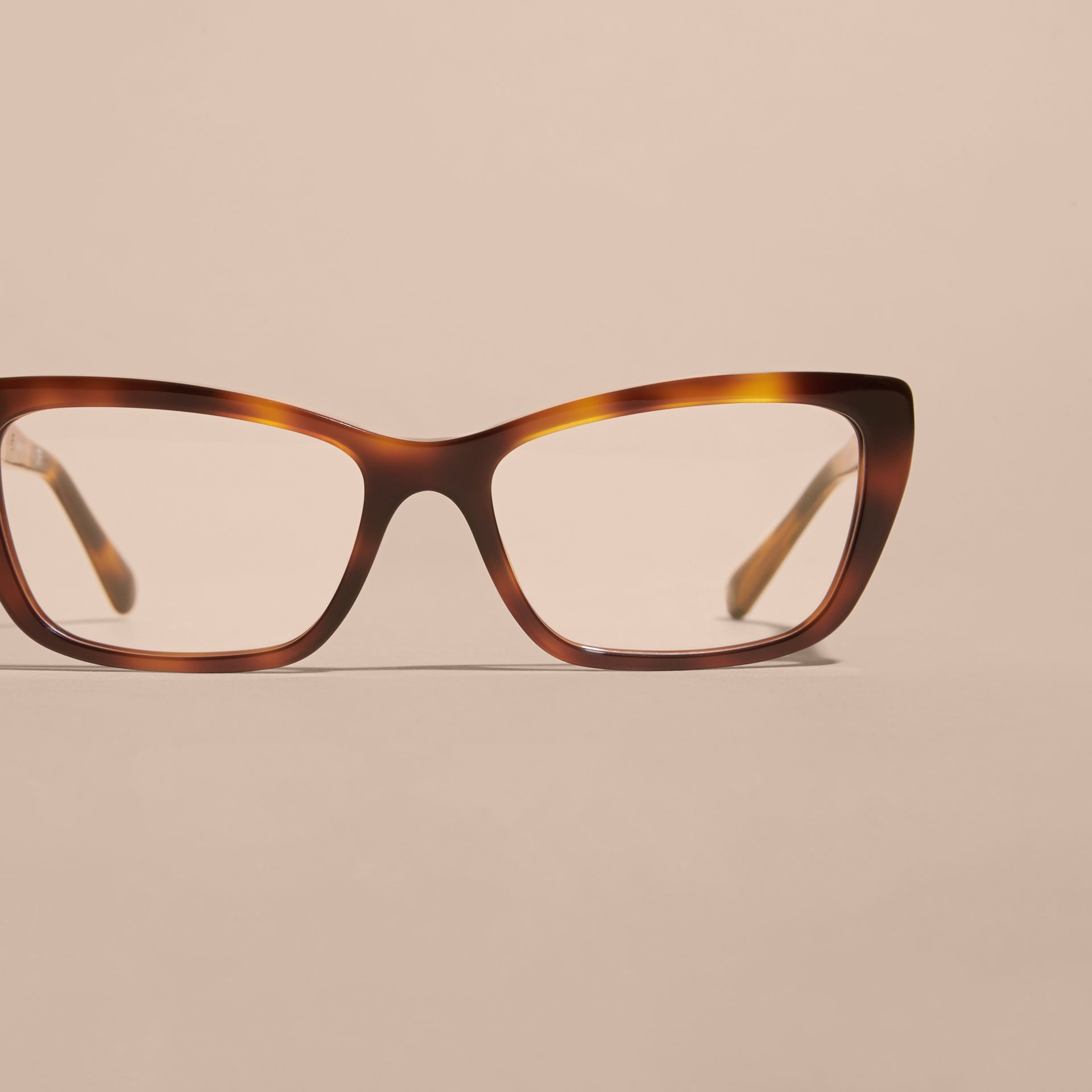 Check Detail Rectangular Cat-eye Optical Frames in Light Russet Brown - gallery image 3