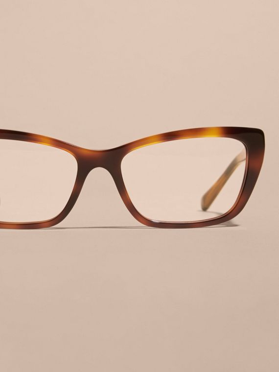 Check Detail Rectangular Cat-eye Optical Frames Light Russet Brown - cell image 2