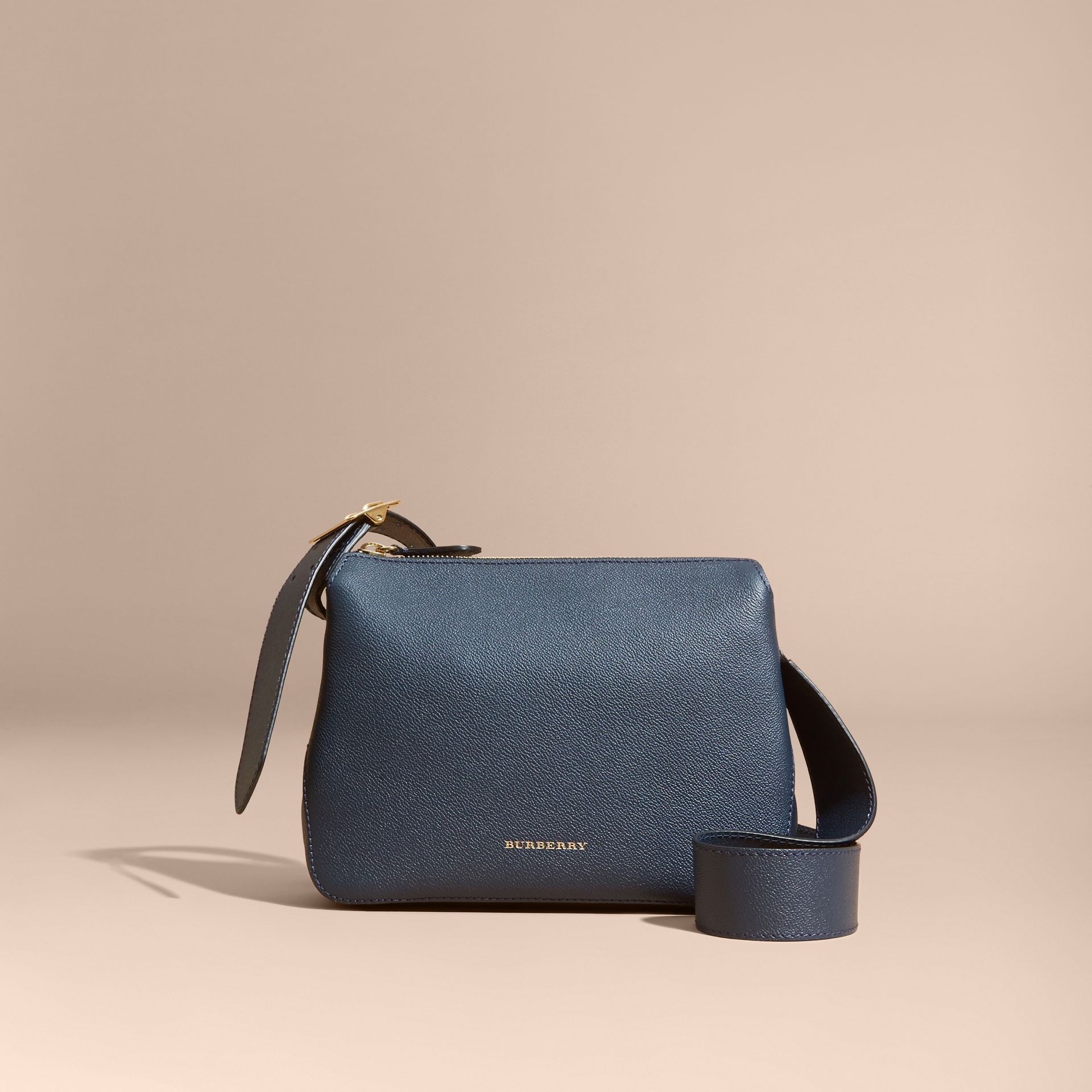 Buckle Detail Leather Crossbody Bag in Blue Carbon - gallery image 8