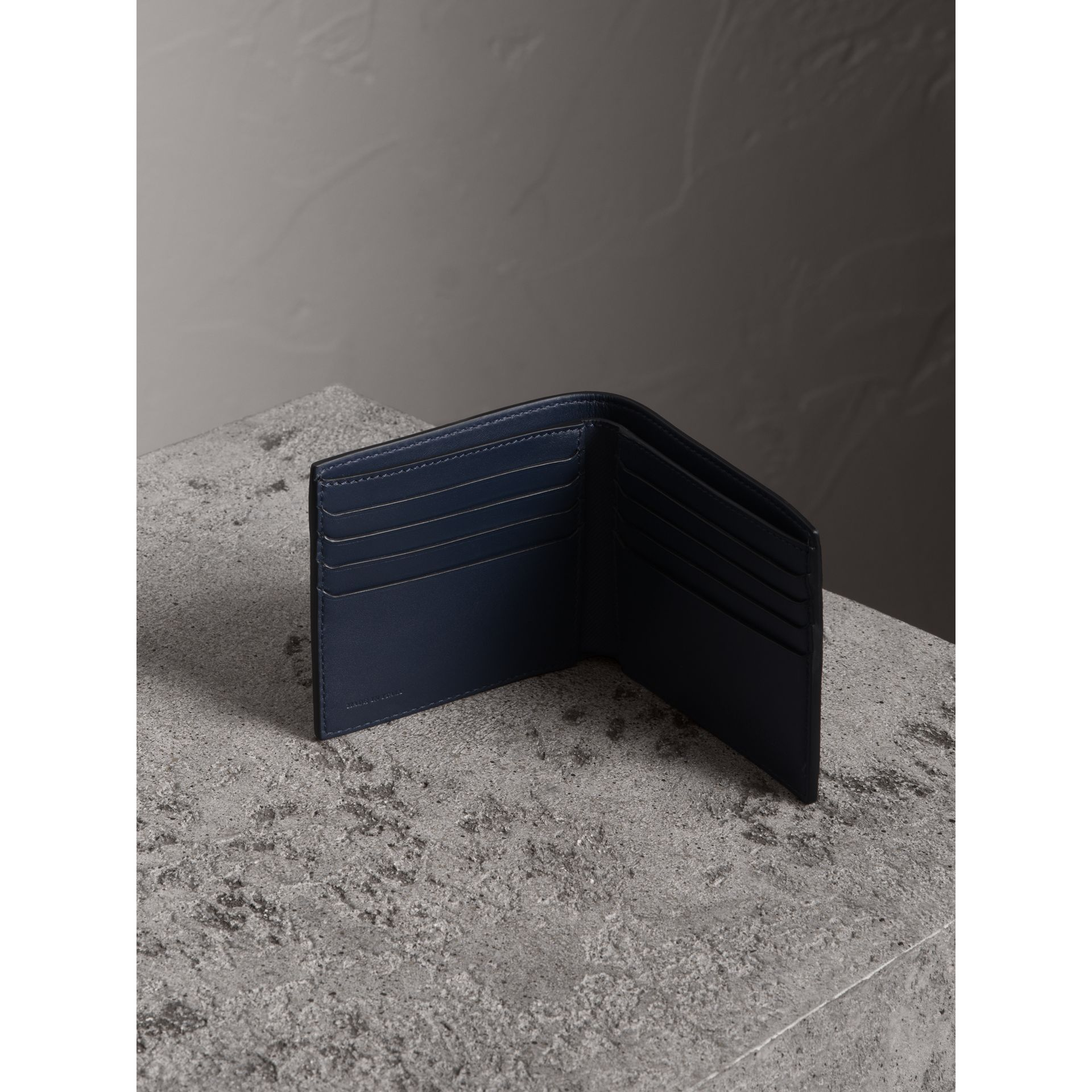 Trench Leather International Bifold Wallet in Ink Blue - Men | Burberry Canada - gallery image 3