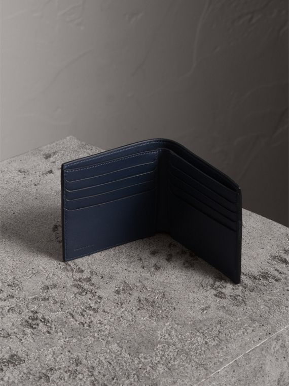Trench Leather International Bifold Wallet in Ink Blue - Men | Burberry Canada - cell image 3