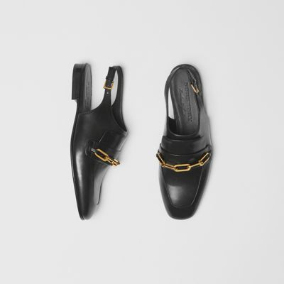 Link Detail Leather Slingback Loafers by Burberry