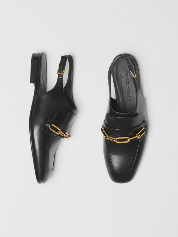 Link Detail Leather Slingback Loafers in Black
