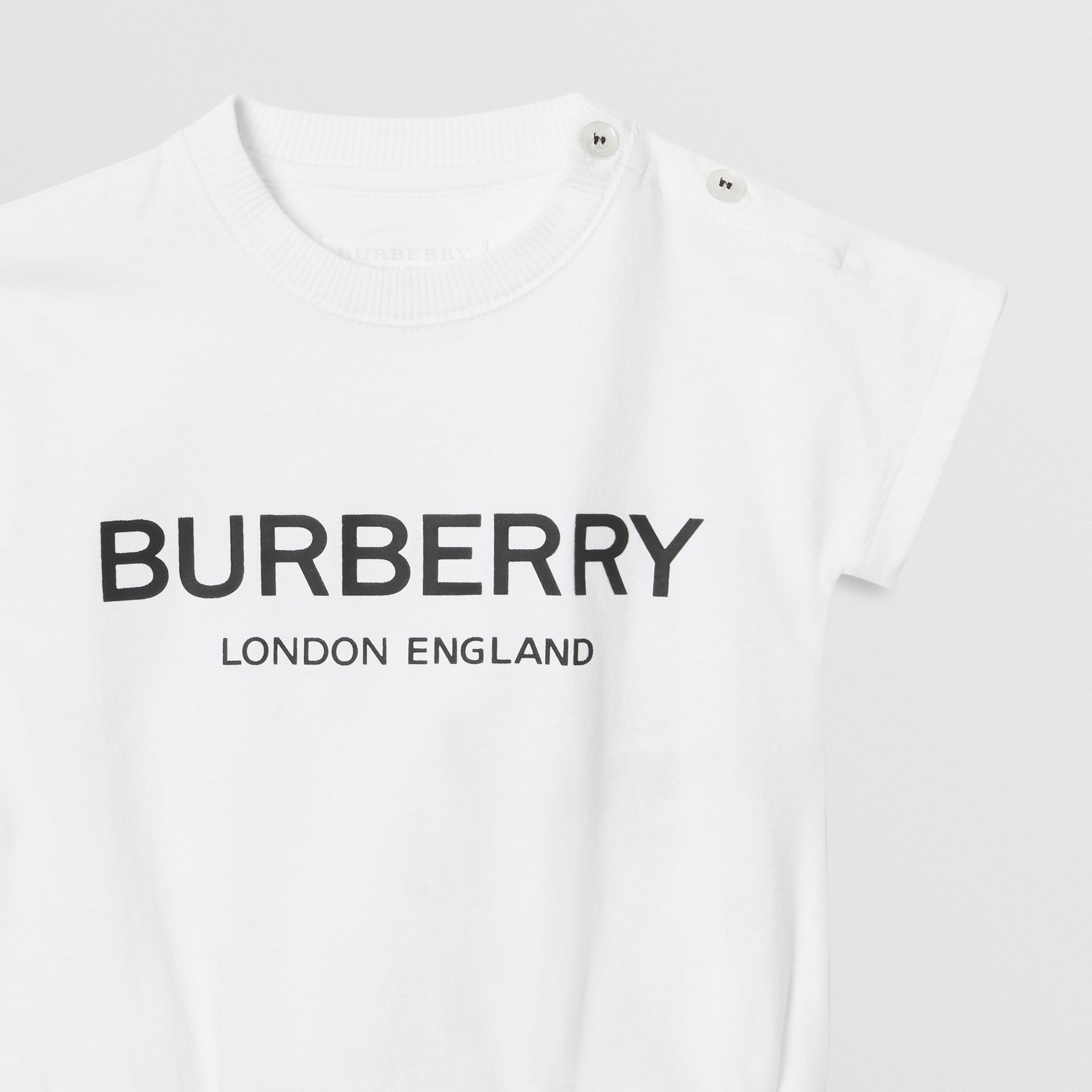 Logo Print Cotton Four-piece Baby Gift Set in Black/white - Children | Burberry Hong Kong - gallery image 7