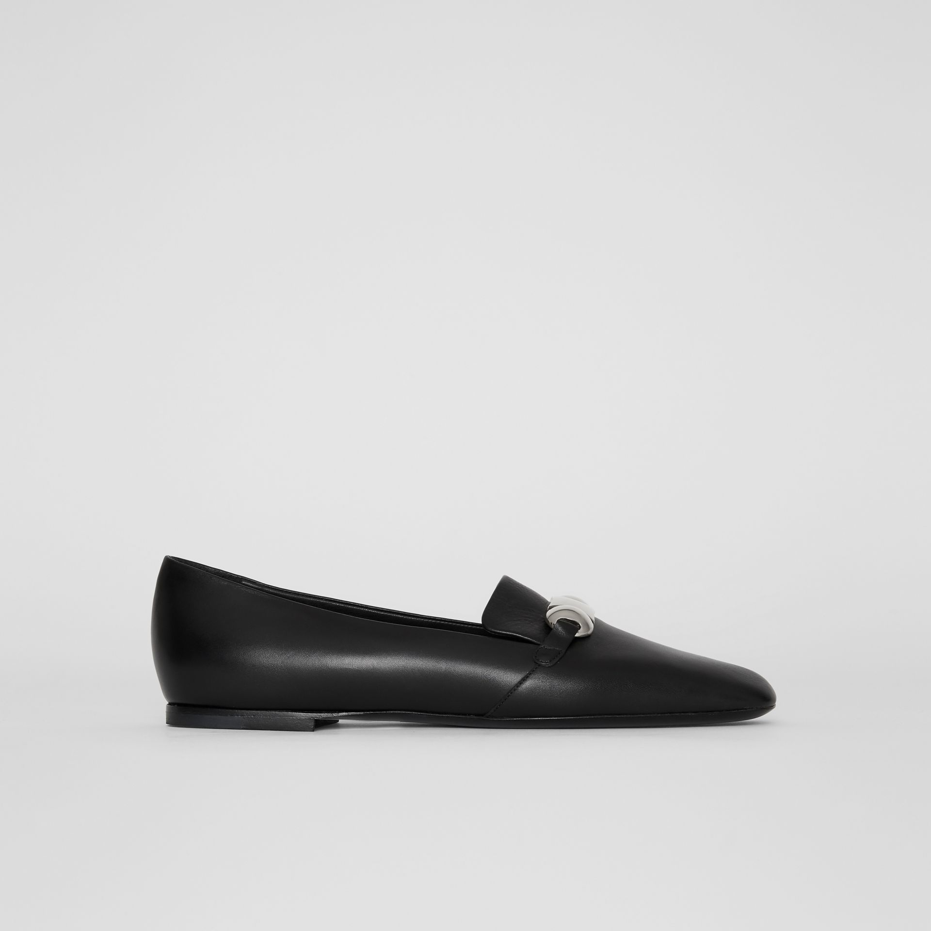 Studded Bar Detail Leather Loafers in Black - Women | Burberry - gallery image 5