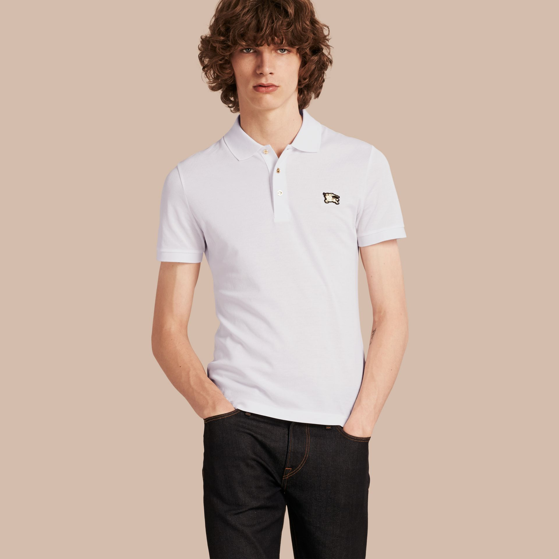 White Fitted Mercerised Cotton-Piqué Polo Shirt White - gallery image 6