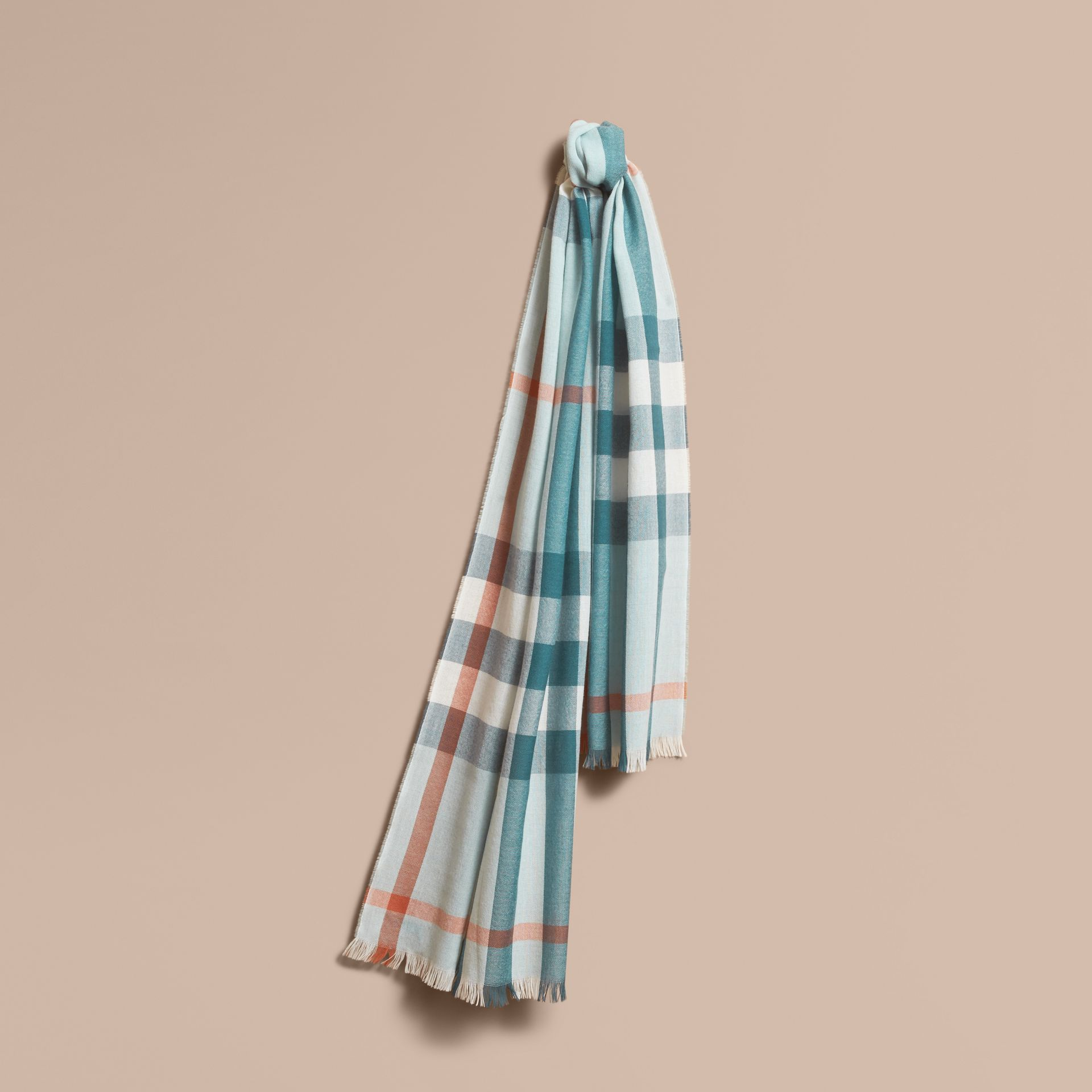 Lightweight Check Wool Cashmere Scarf in Powder Blue | Burberry - gallery image 1