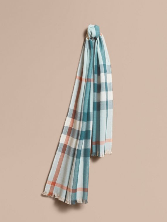 Lightweight Check Wool Cashmere Scarf in Powder Blue