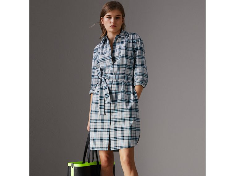 Lace Trim Collar Check Cotton Shirt Dress in Pale Stone - Women | Burberry - cell image 4