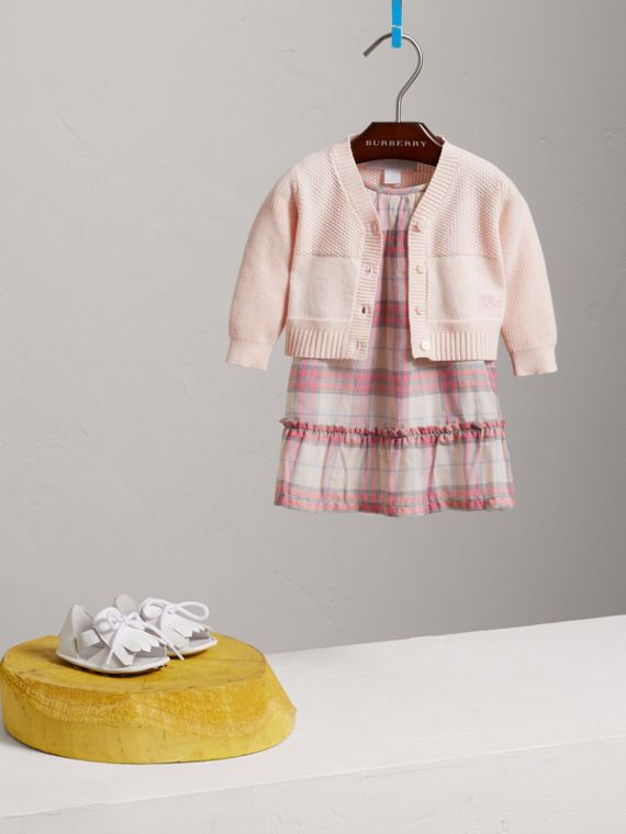 Multi-stitch Cotton Cardigan in Powder Pink