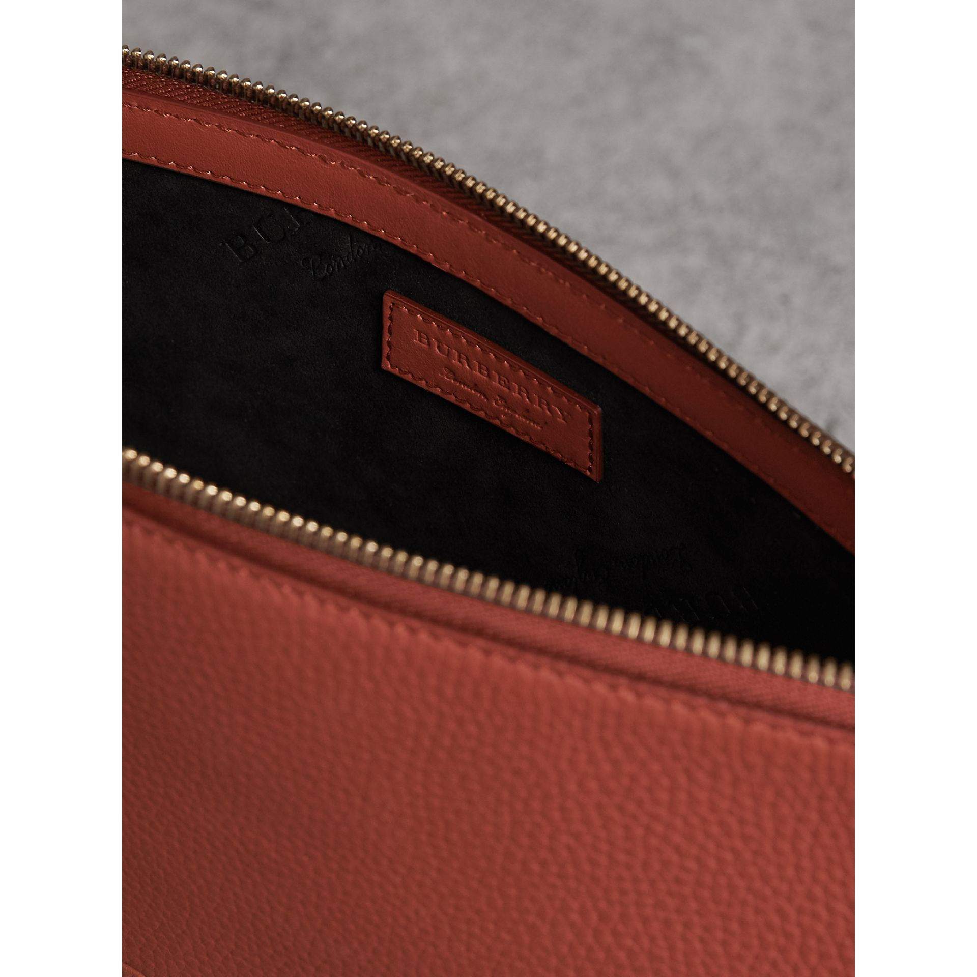 Large Embossed Leather Zip Pouch in Chestnut Brown - Men | Burberry - gallery image 3