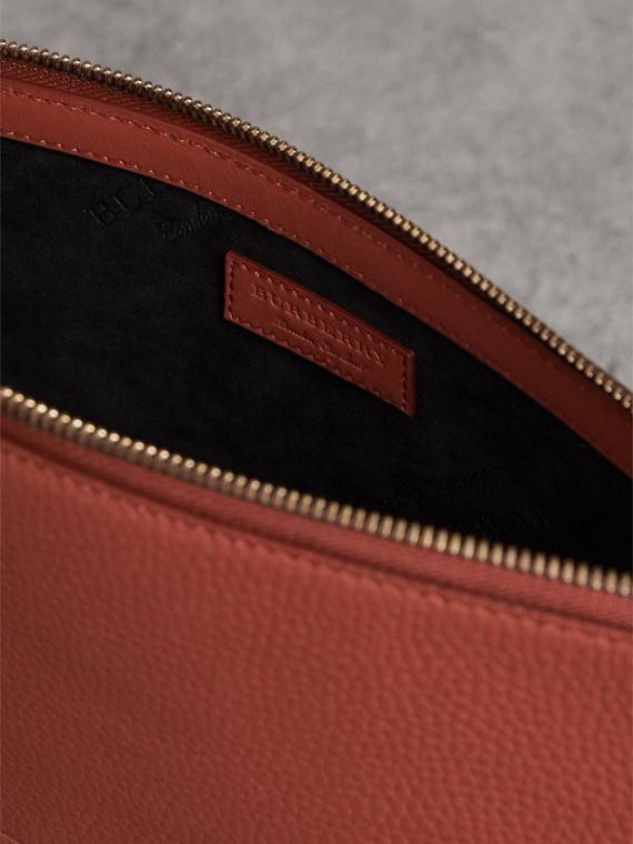 Large Embossed Leather Zip Pouch in Chestnut Brown | Burberry - cell image 3
