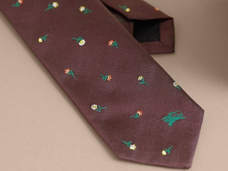 Slim Cut Floral Silk Jacquard Tie in Dark Cinnamon - Men | Burberry - cell image 1
