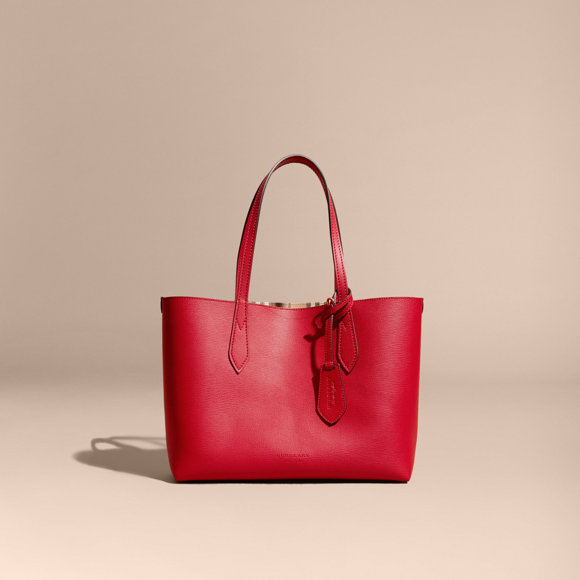 The Small Reversible Tote in Haymarket Check and Leather Poppy Red - gallery image 9