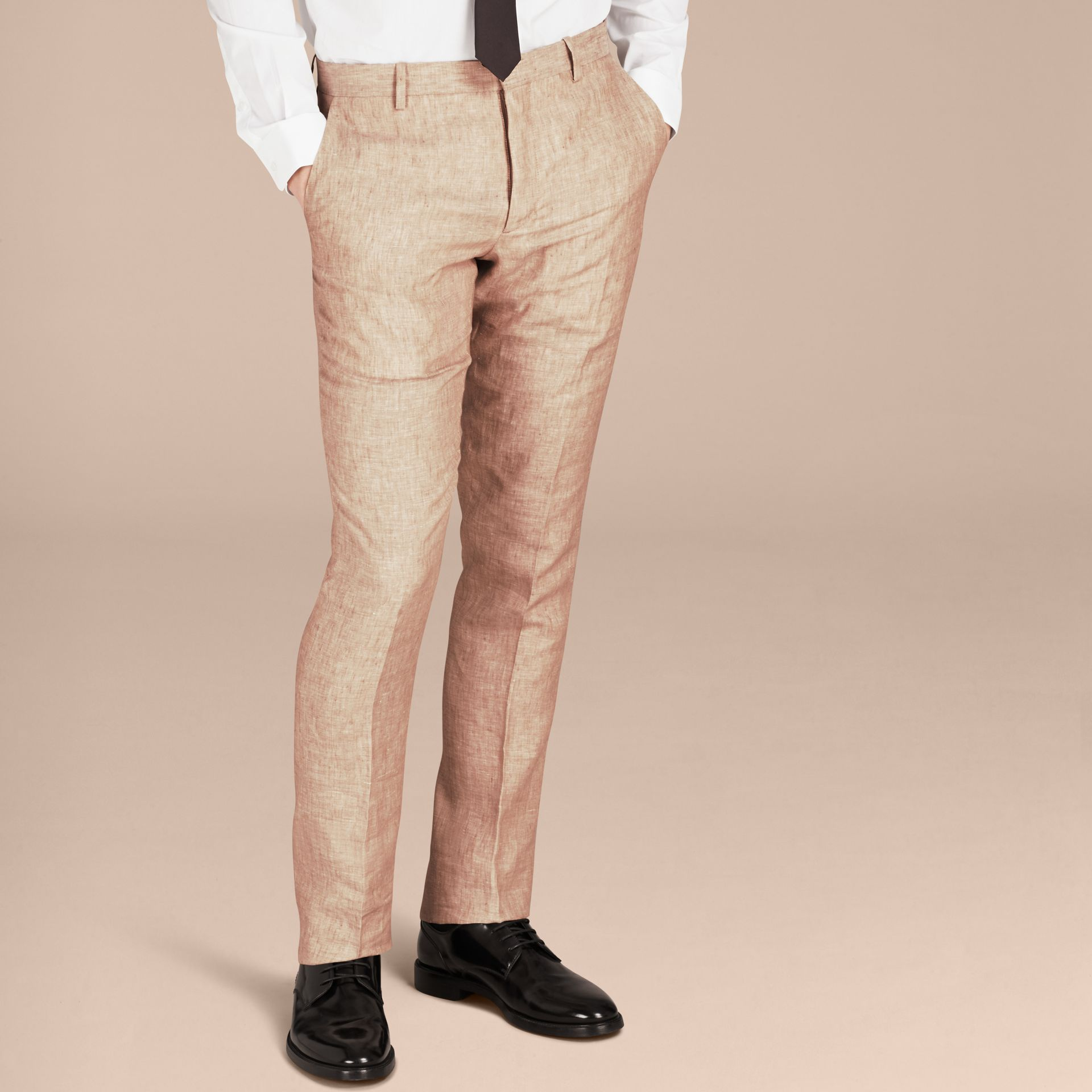 Pale stone Modern Fit Linen Trousers - gallery image 6