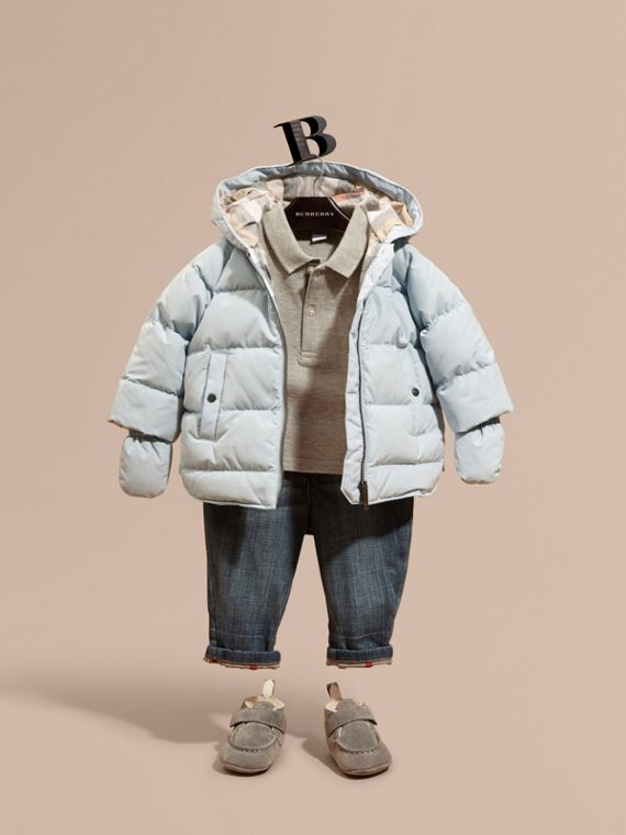 Hooded Down-filled Puffer Jacket with Mittens Ice Blue