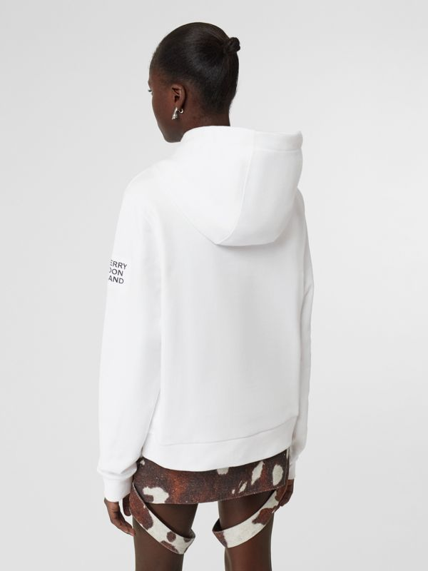 Unicorn Print Cotton Hoodie in White - Women | Burberry Australia - cell image 3