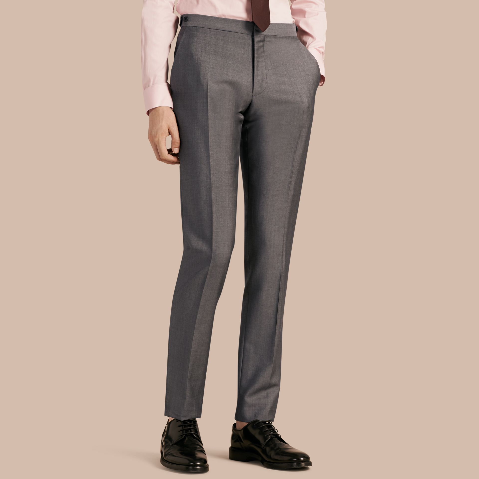 Mid grey Slim Fit Wool Mohair Trousers - gallery image 1