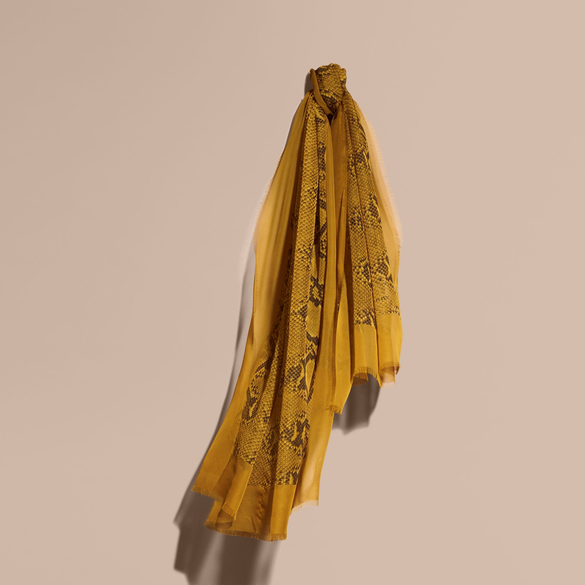 Amber yellow Python Print Silk Scarf Amber Yellow - gallery image 1