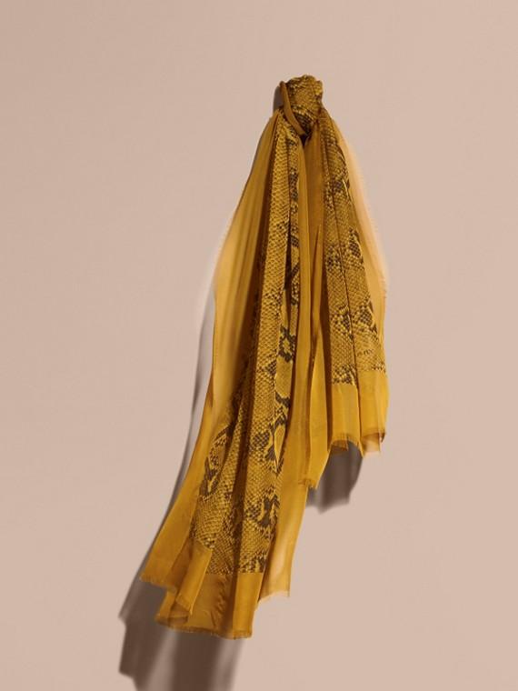 Python Print Silk Scarf Amber Yellow