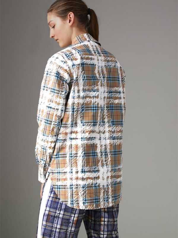 Scribble Check Cotton Stepped-hem Shirt in Bright Mineral Blue - Women | Burberry United Kingdom - cell image 2