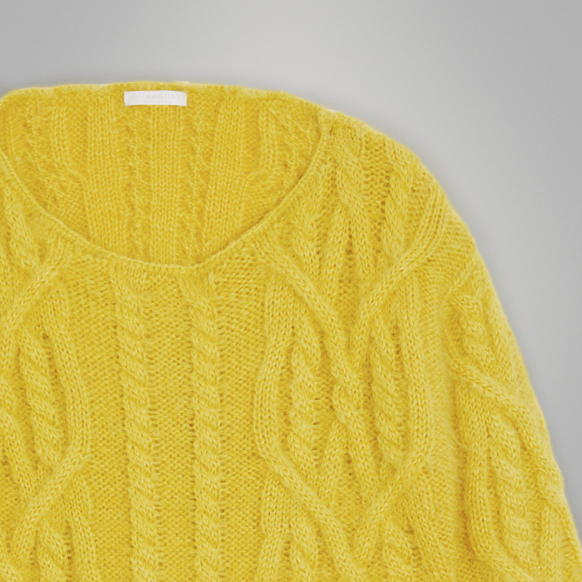 Cable Knit Mohair Wool Sweater in Bright Yellow | Burberry - gallery image 4