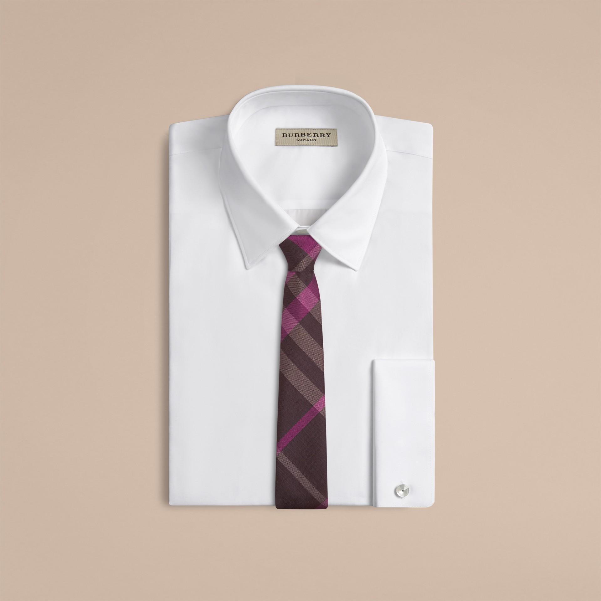 Deep burgundy Modern Cut Check Silk Tie - gallery image 2