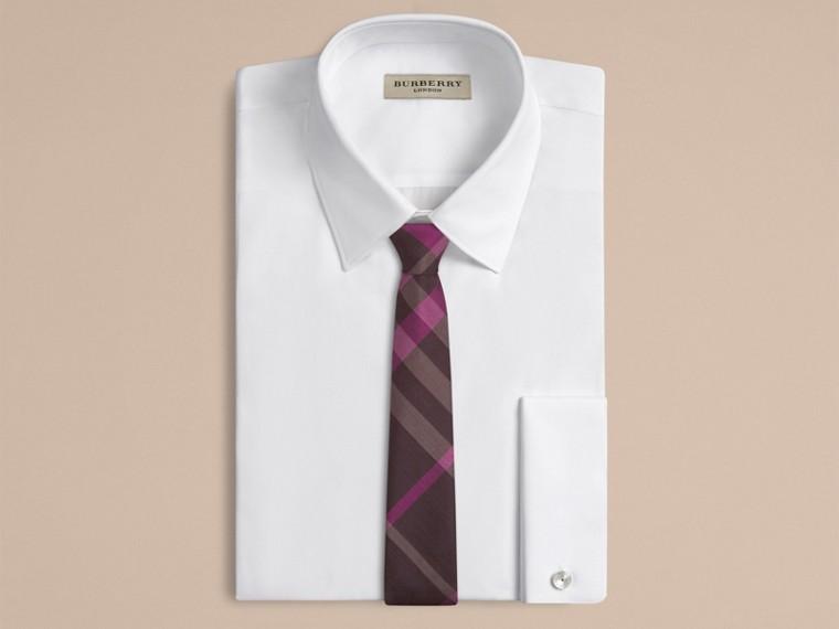 Deep burgundy Modern Cut Check Silk Tie - cell image 1