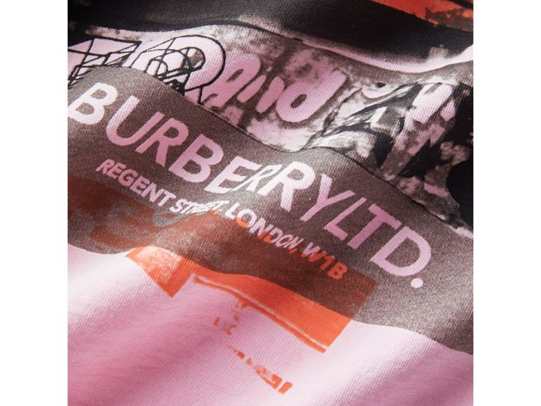 London Street Art Print Cotton T-shirt in Bright Pink - Girl | Burberry - cell image 1