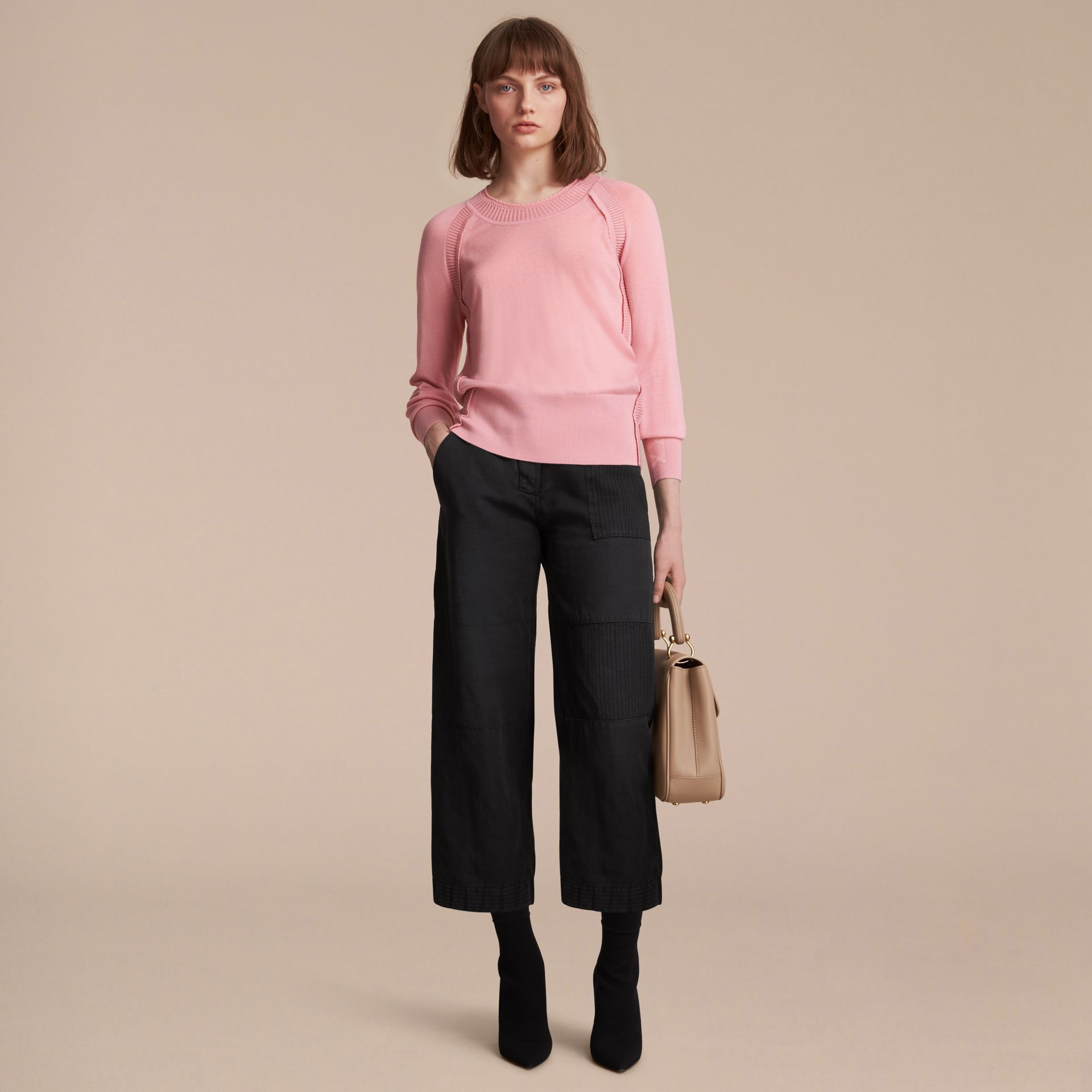 Open-knit Detail Cashmere Crew Neck Sweater in Apricot Pink - Women | Burberry Singapore - gallery image 6
