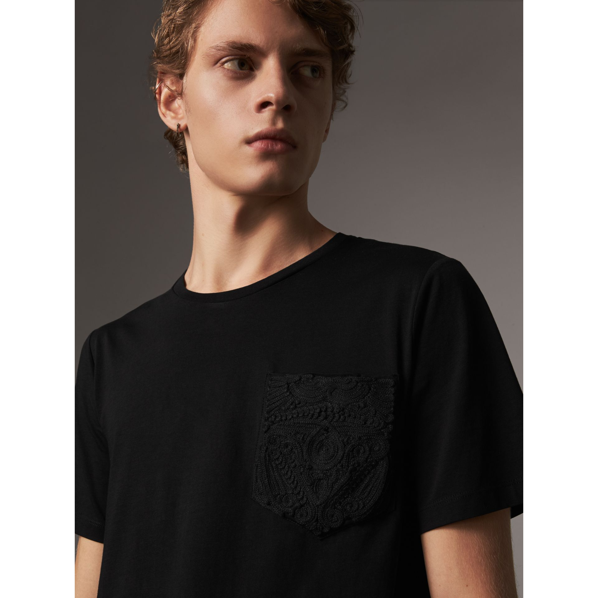 Rope Embroidered Pocket Cotton T-shirt in Black - Men | Burberry United Kingdom - gallery image 1