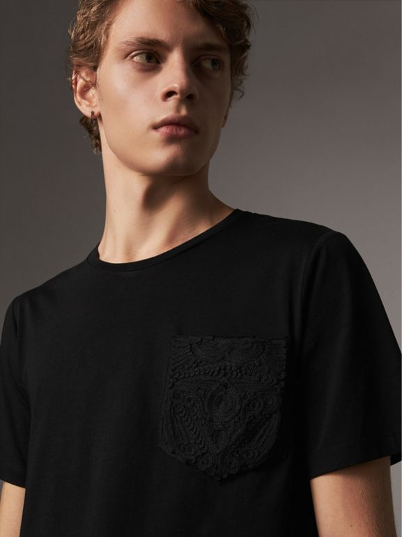 Rope Embroidered Pocket Cotton T-shirt in Black - Men | Burberry - cell image 1