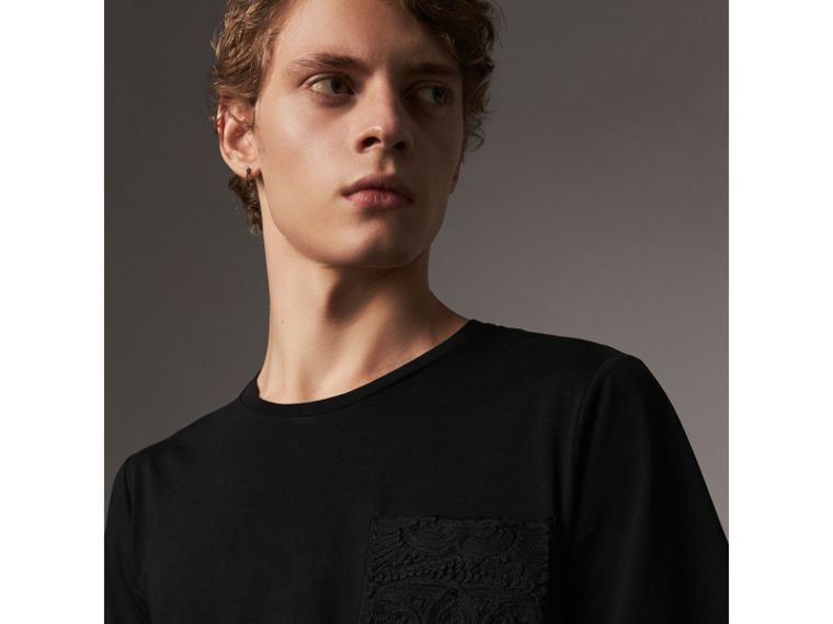 Rope Embroidered Pocket Cotton T-shirt in Black - Men | Burberry United Kingdom - cell image 1