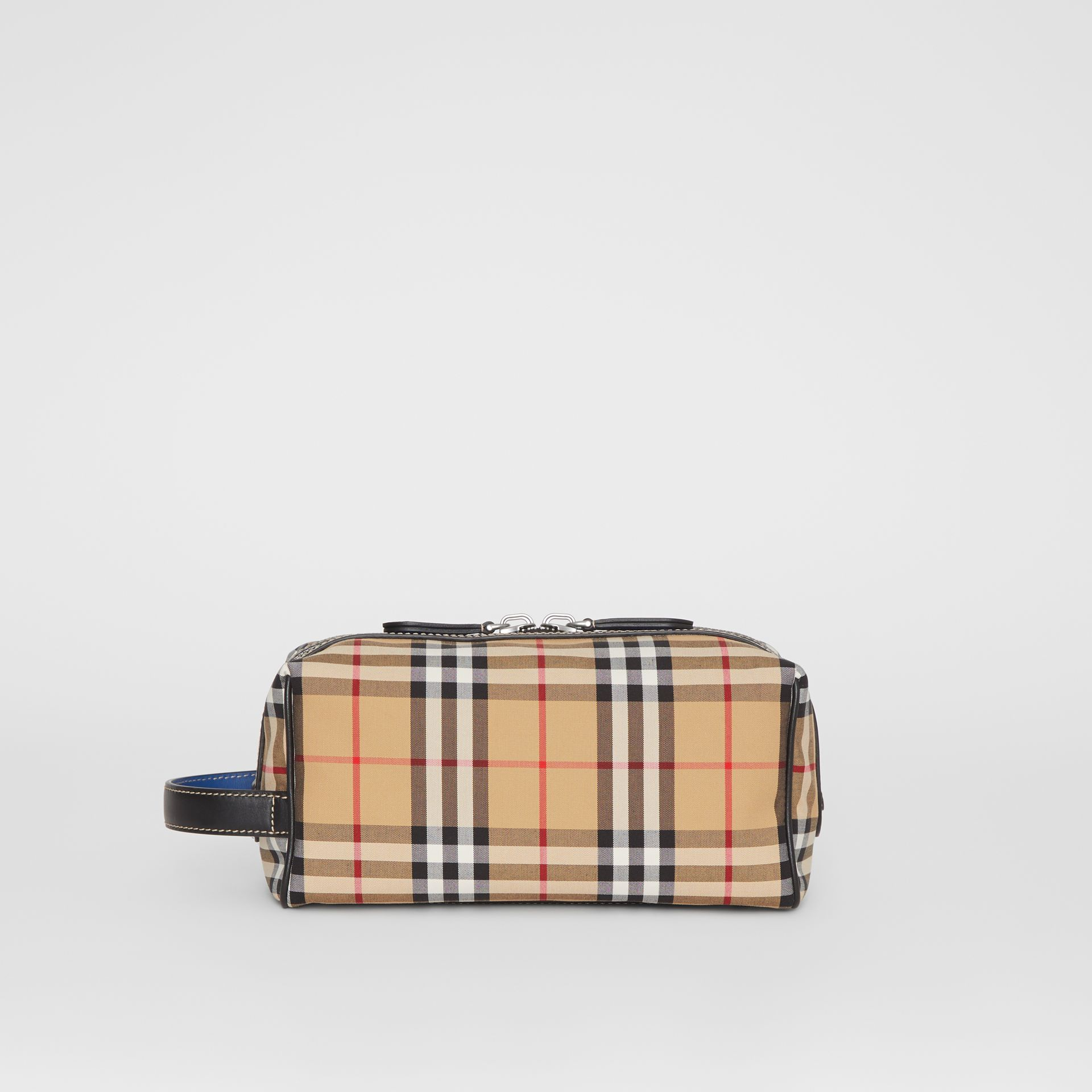 Vintage Check and Leather Pouch in Dark Cyan | Burberry Australia - gallery image 7