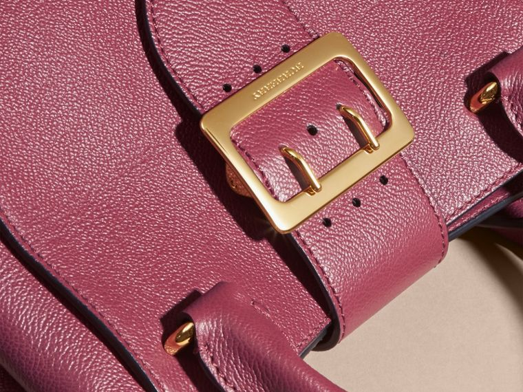 Dark plum The Small Buckle Tote in Grainy Leather Dark Plum - cell image 1