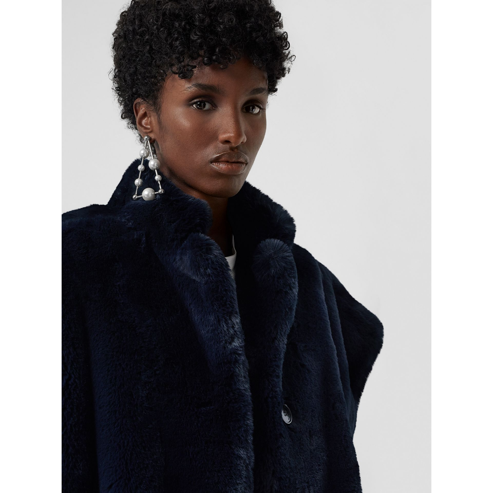 Stand Collar Faux Fur Cape in Navy - Women | Burberry Singapore - gallery image 1