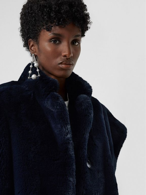 Stand Collar Faux Fur Cape in Navy - Women | Burberry - cell image 1