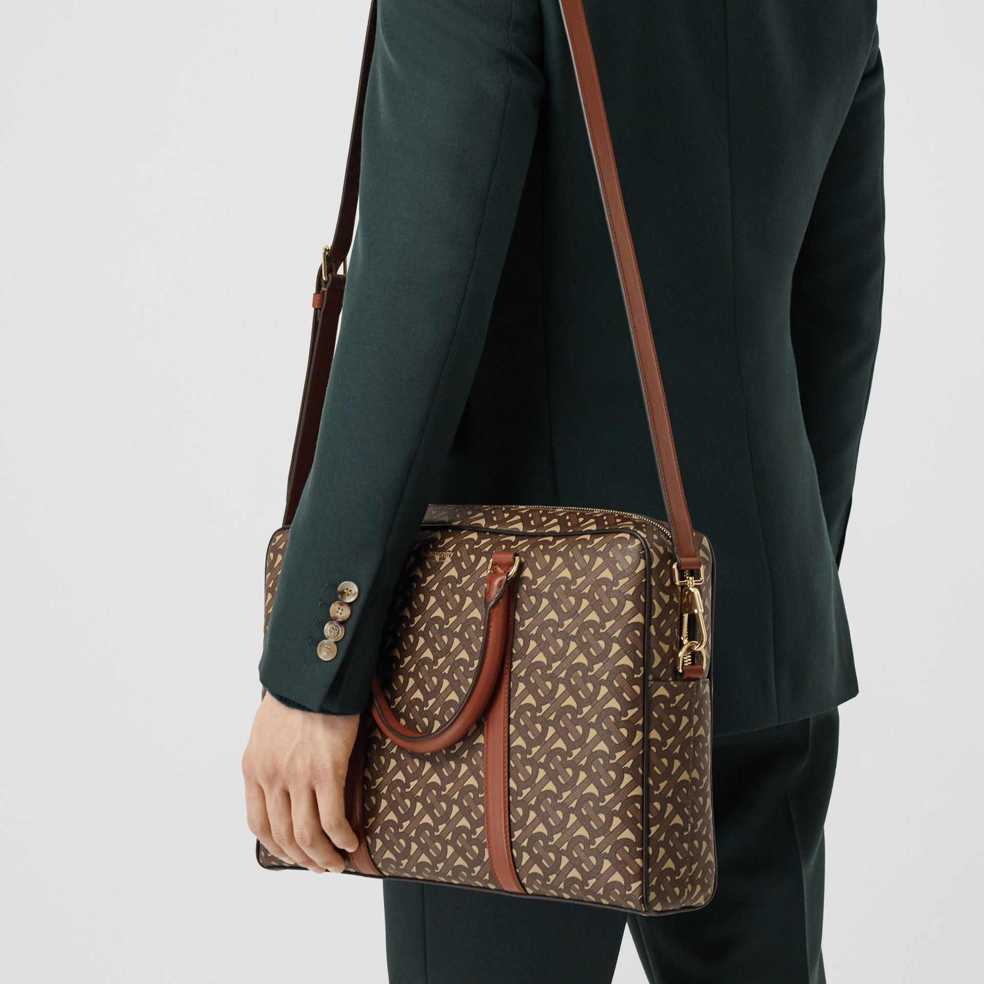 Monogram Print E-canvas and Leather Briefcase in Bridle Brown - Men | Burberry - gallery image 8