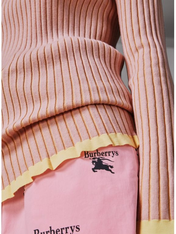 Rib Knit Cashmere Silk Sweater in Pale Pink - Women | Burberry - cell image 1