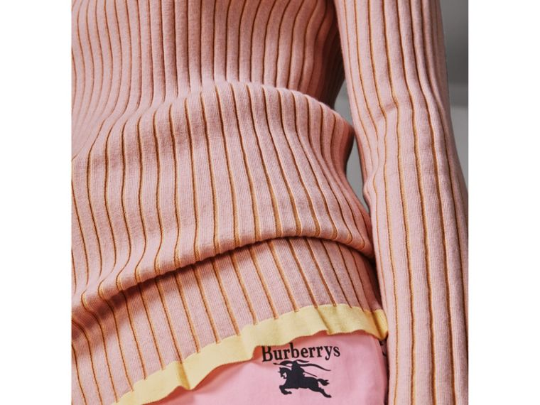 Rib Knit Cashmere Silk Sweater in Pale Pink - Women | Burberry Singapore - cell image 1