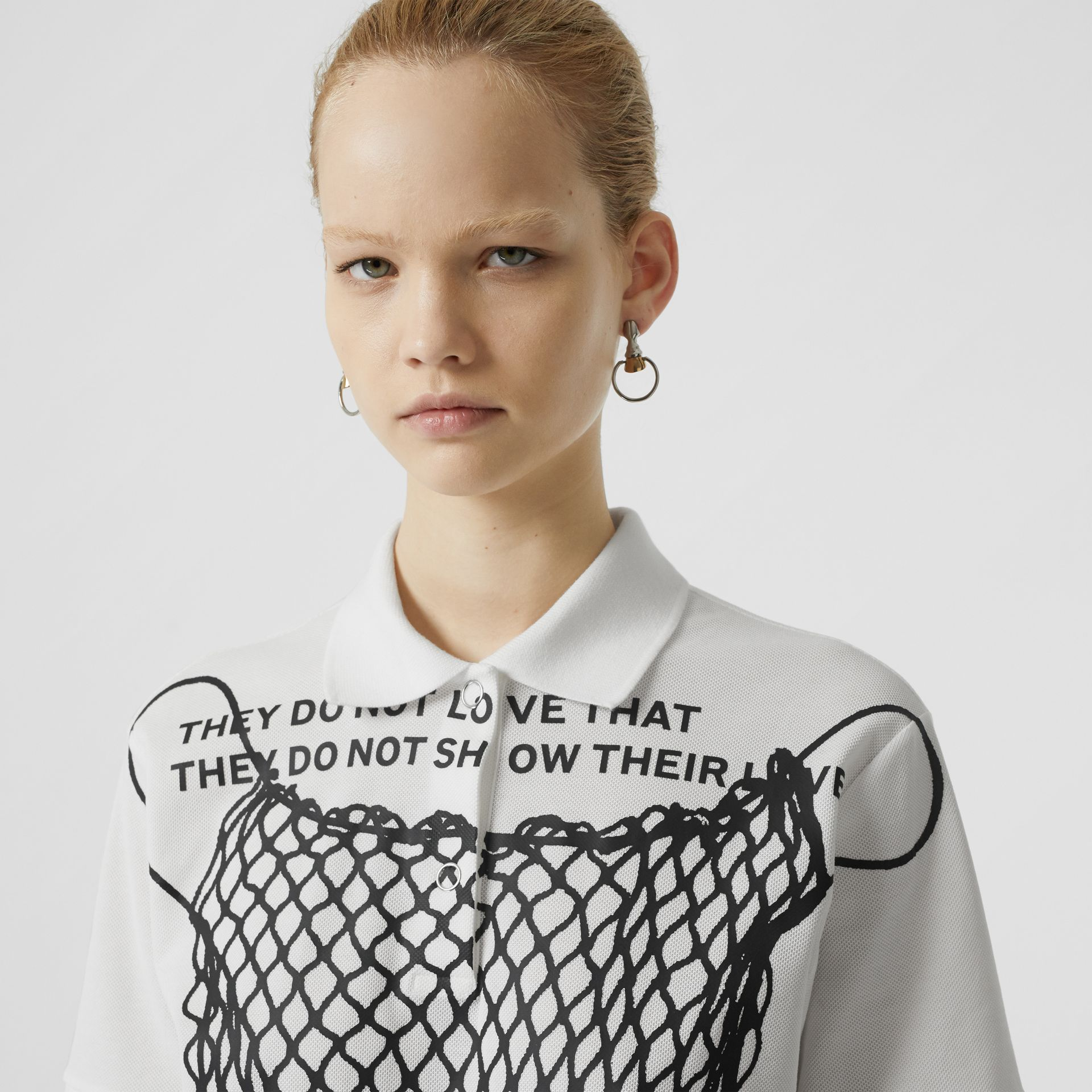 Montage Print Cotton Piqué Polo Shirt in Optic White - Women | Burberry United States - gallery image 2